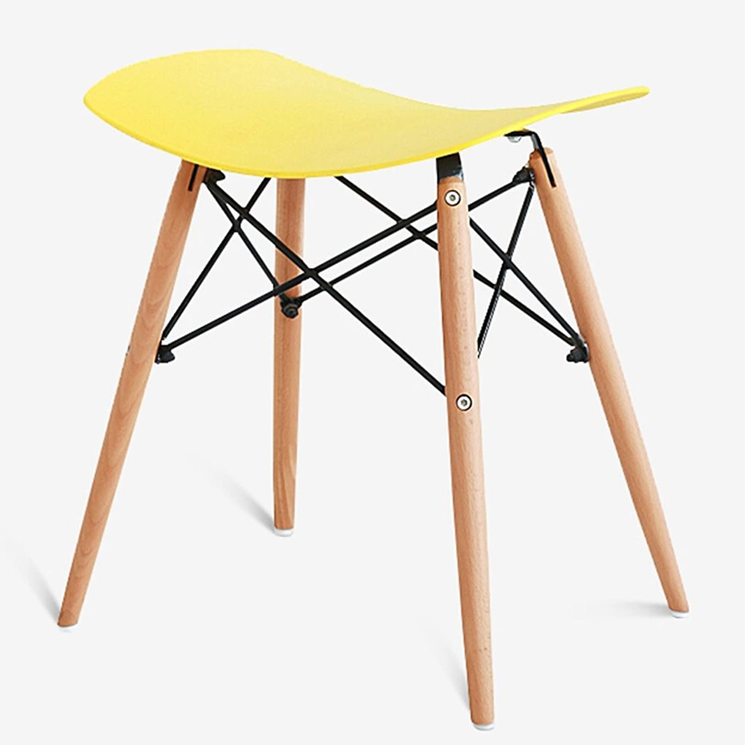 Solid Wood Casual Stool, Stylish Living Room Dining Chair Bar Stool, Solid Wood Stool Chair (color   Yellow, Size   47  34.5  50CM)