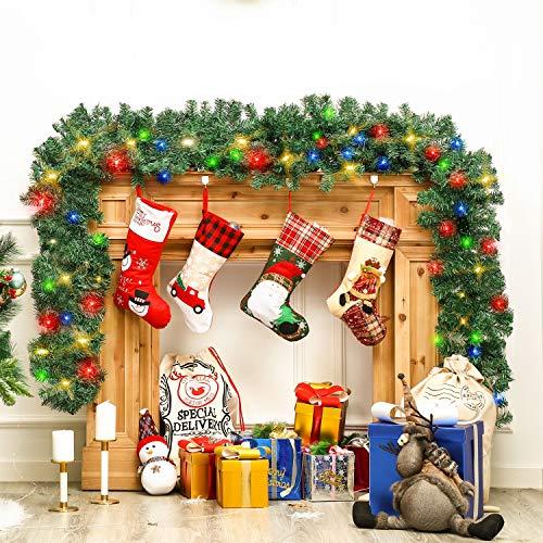LessMo 5 M Weihnachtsgirlande, Weihnachtskranz Türkranz Wandkranz Weihnachtsweihnachtsdekoration mit 2 LED-Lichtkabeln für drinnen und draußen, wiederverwendbar.