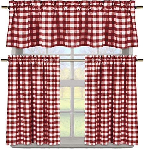 Elegant Linens 3 PC. Country Buffalo Plaid Gingham Checkered Premium Cotton Blend Kitchen Curtain Tier & Valance Set - Assorted Colors (Wine/Garnet)
