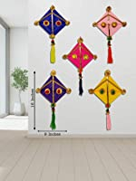 JH Gallery Woollen Handmade Colourful Kite Hanging Decoration- Pack of 5