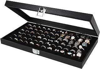 MK248 - Glass Top Black Ring Display Case 72 Slot (Black Suede)