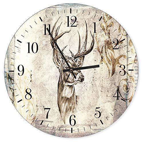 Feeby, Wanduhr, mehrfarbige Deco Panel Bild mit Uhr, Durchmesser 40 cm, Hirsch, GEWEIH, MODERN, Muster, BRAUN