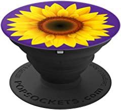 Sunflower Sun Flower Decor Girasol Yellow Purple Background - PopSockets Grip and Stand for Phones and Tablets