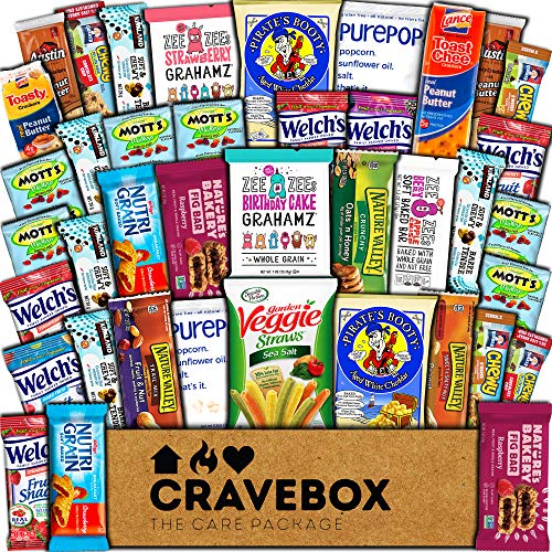 CraveBox Healthy Care Package (40 Count) Natural Food Bars Nuts Fruit Health Nutritious Snacks Variety Gift Box Pack Assortment Basket Bundle Mix Sampler College Students Office Staff Halloween