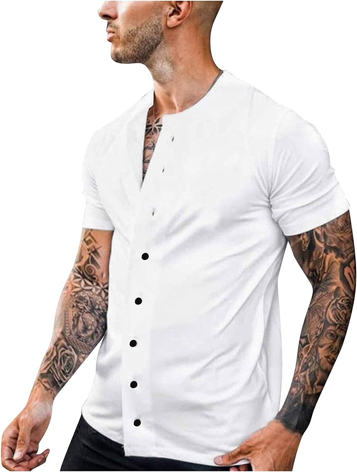 FIN86 Summer Men Fashion Blouse Casual Super beauty product restock quality top Solid Sho Slim Year-end gift
