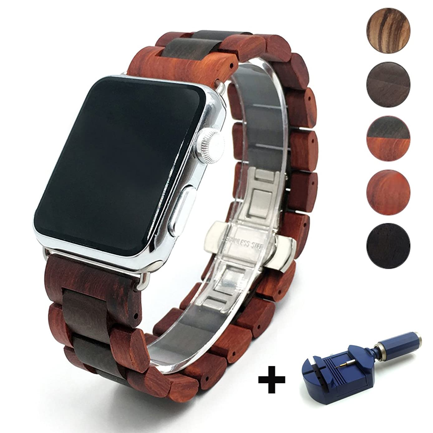 Seoaura Compatible Apple Watch Band 38mm 40mm, Natural Handmade Wooden Replacement iWatch Series 4 3 2 1 Sports Strap Wristband - Link Remover as a Gift (Red Brown, 38mm/40mm)