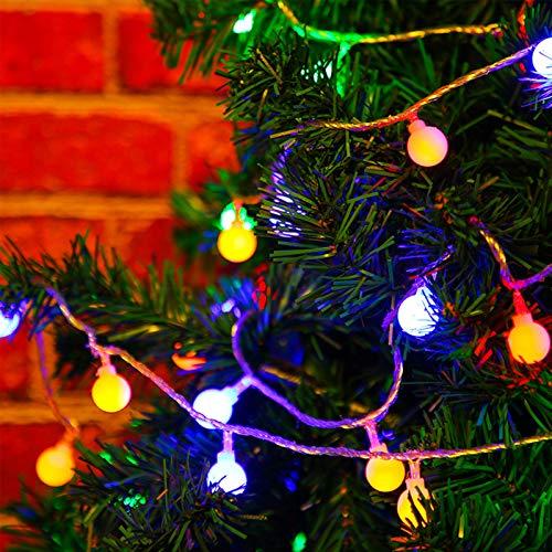 Ball-älva lampor Marvelights LED boll ljusslinga lampor batteridriven vattentät 50 LED 6,5 m 8 lägen färgglada och varmvita för utomhusfest julträdgård