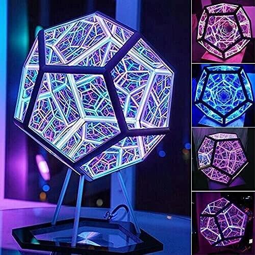 YHQKJ Creativo Fresco Colorido DIRIGIÓ Lámpara de Mesa, Infinito Dodecahedron Color Light, for decoración de Fiesta lámparas atmosféricas