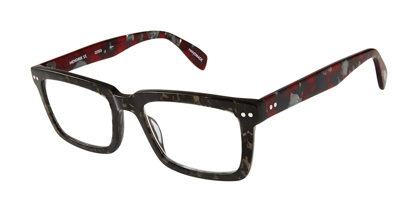 Hendrix Street - Square Trendy Fashion Reading Glasses for Men and Women - Caviar/Merlot