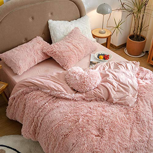 Tisi Shaggy Plush Duvet Cover cloud Mink Velvet Coral Velvet Crystal Solid Colo ultra Soft Winter Plush Thick Warm Quilt Cover Machine Washable (Pink)