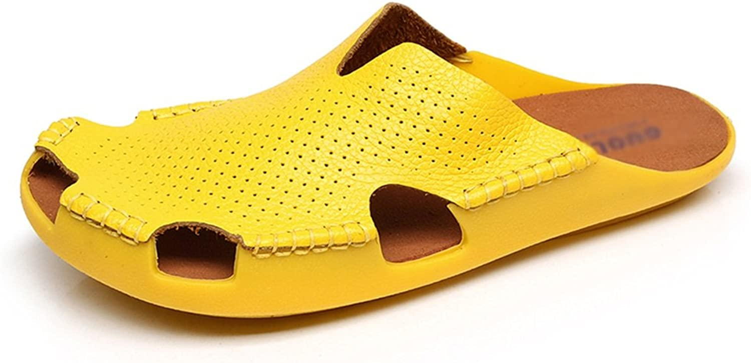 High Heels Ladies Beach shoes Leather Baotou shoes Outer Couple Pinghe Hole shoes Ladies sandals (color   Yellow, Size   35)