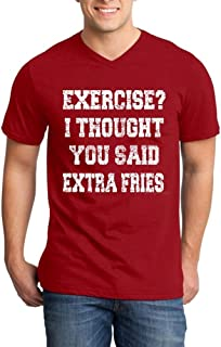 Shop4Ever Exercise? I Thought You Said Extra Fries Men's V-Neck T-Shirt