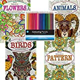 Martello Set of 4 Anti-Stress Adults Relaxing Art Therapy Colouring Book with 48 Designs per Book - Also...