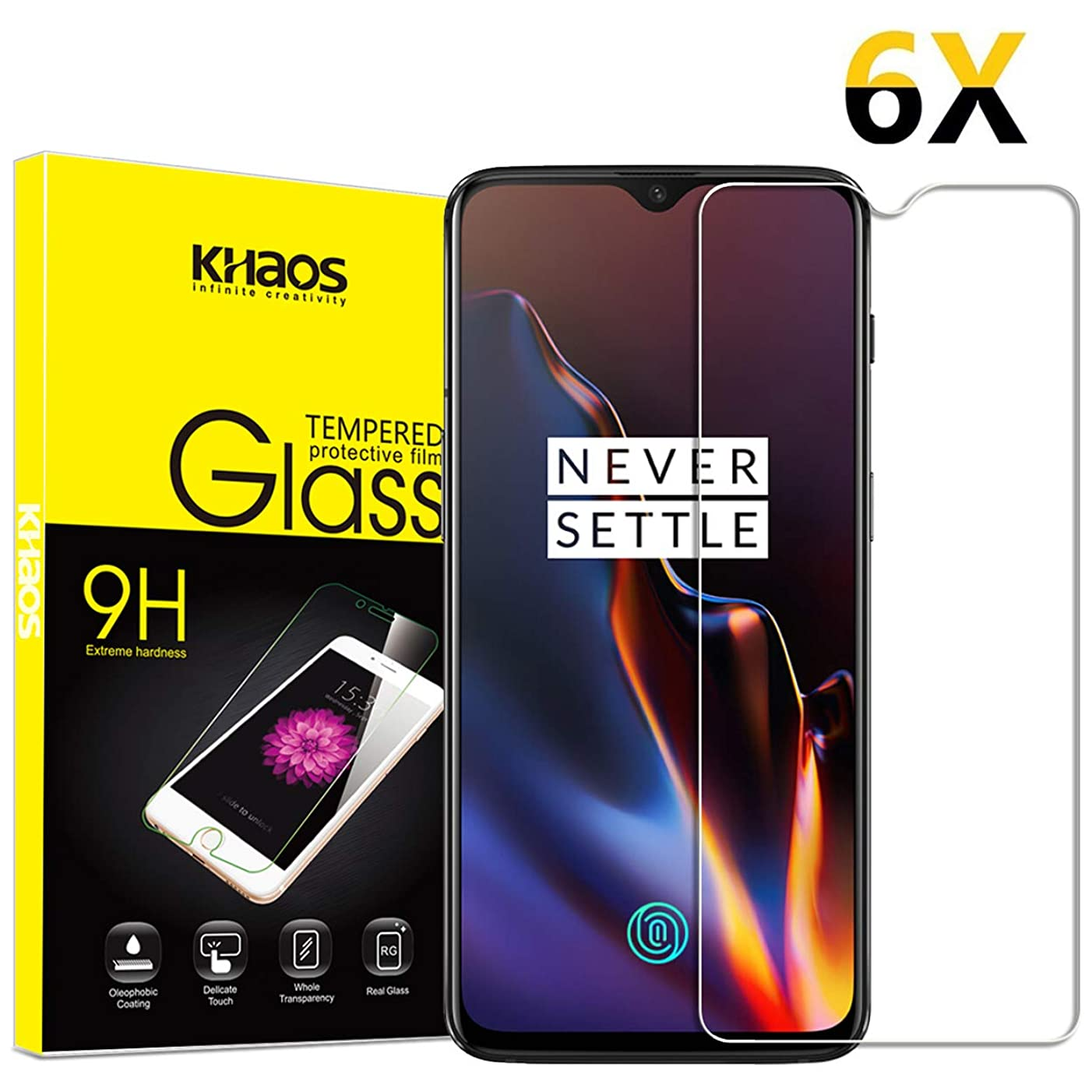 [6 Pack] Screen Protector for Oneplus 6T, KHAOS Tempered Glass Screen Protector for One Plus 6T Ultra Clear Scratch Resistant