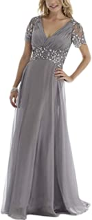 Women's Crystal A-line Mother of the Bride Dress Chiffon Pleats Ruffles Short Sleeves Groom's Party