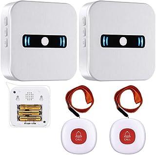 Daytech 呼び出しワイヤレス コールボタン 介護ベル 電池式携帯しやすい 防水 緊急アラーム 高齢者/患者/障害者/妊婦向け (受信機2 +発信機2,赤色)