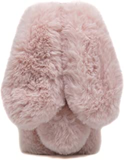Furry Case with Ears for iPhone 7 Plus Rose Pink, Fluffy Rabbit Case for iPhone 8 Plus, Fashion Pom Pom Faux Furry Bunny Case for iPhone 7 Plus & iPhone 8 Plus Soft Hairy Fuzzy Cover Case for Girls