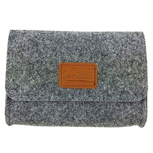 Täschchen Mini Hülle Tasche aus Filz für Zubehör und Accessoires (Netzteil, PC Maus, E-Zigarette, Kosmetik) Grau
