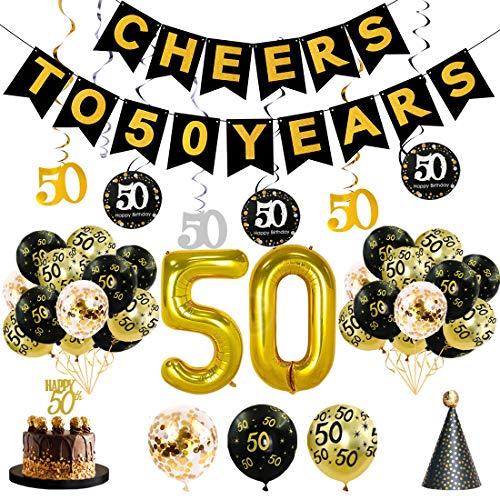 JaosWish 50. Geburtstag Dekoration mit hängenden Luftballons, Happy Birthday Party Banner,Hut, Glitter Cake Topper für Damen und Herren