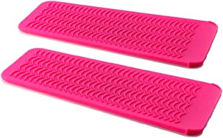ZAXOP 2 Pack Heat Resistant Silicone Mat Pouch for Flat Iron, Curling Iron,Hair Straightener,Hair Curling Wands,Hot Hair Tools (HOT PINK&HOT PINK)