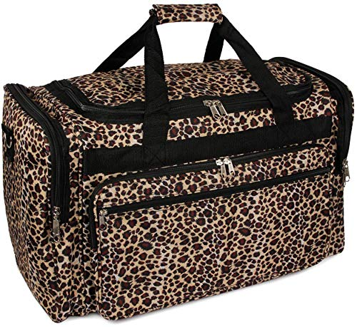 "Handbag Inc Leopard Canvas Lightweight Animal Print 19"" Duffel Bag with Shoulder Strap Black"