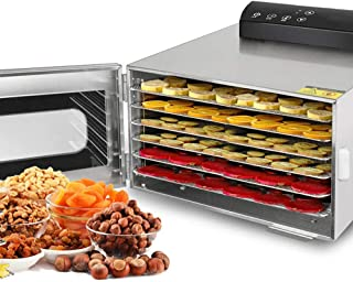Food Dehydrator, Snacks Drying Machine, 6 Stainless Steel Trays, With Digital Timer And Temperature Control, For Fruit Veg...