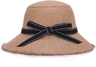 SHENLIJUAN Hat Lady Summer Korean Version of Tassel New Linen Visor Flower Decoration Basin Cap (Color : Coffee, Size : 58cm)