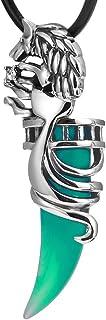 URBAN المجوهرات المذهلة للرجال الذئب القبلية الفولاذ المقاوم للصدأ قلادة فضية 19 بوصة سلسلة جلدية