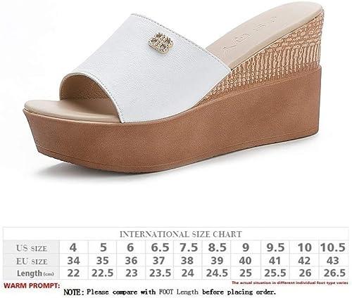 LZK Sandales pour femmes - sandales compensées en cuir d'été, pantoufles de plage extérieures à bout ouvert, sandales à semelle d'usure résistantes - marche, voyage Usure antidérapante bl