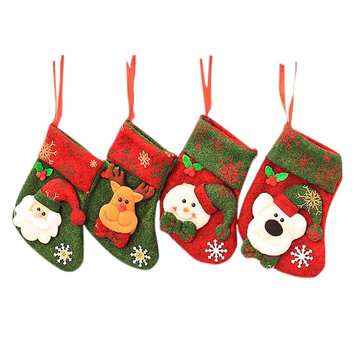 不屈ダウンタウンありがたいDRASAWEE(JP)クリスマスソックス 靴下 ギフトバッグ プレゼント 4枚セット サンタ 雪だるま トナカイ クマ 壁掛け 飾り付け B