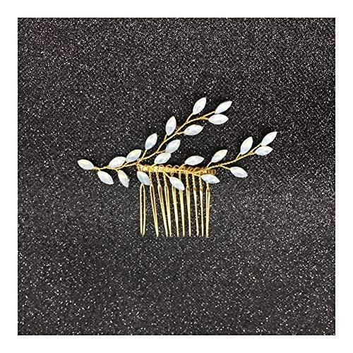 LUOSI Haarklammern Weiße Blumen-Haar-Kamm-handgemachtes Kristall Braut-Pins Von Perlen Hochzeit Schmuck Haar Vine Accessoires Damen Kopfschmuck (Metal Color : 2)