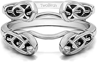TwoBirch Sterling Silver Infinity Celtic Ring Guard Enhancer with Black Cubic Zirconia (0.24 ct. tw.)
