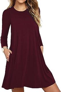 a3c0944d72 Unbranded  Women s Long Sleeve Pocket Casual Loose T-Shirt Dress