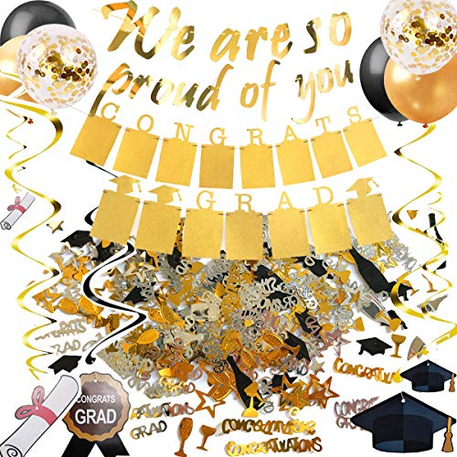 Graduation Party Decorations Gold We are so proud of you Banner, Golden Glitter Congrats Grad Photo Frame Garland, Hanging Swirls, Confetti, 15pcs Gold and Black Balloons