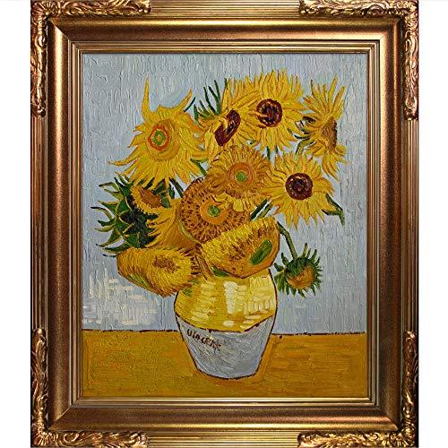 overstockArt Sonnenblumen mit Modena, Vintage-Stil, gerahmt, handbemalt, Ölnachbildung Florentine, Bilderrahmen 31