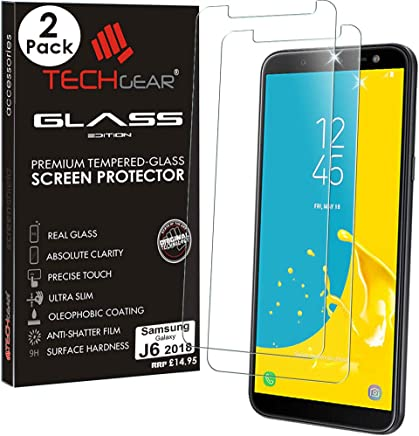 TECHGEAR [2 Pack] GLASS Edition for Galaxy J6 (SM-J600 Series) - Genuine Tempered Glass Screen Protectors Guard Covers Compatible with Samsung Galaxy J6 2018