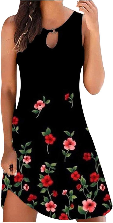 Sundress for Women 2021 Sleeveless Tank Dress Hollow out O-ring Mini Summer Dress Floral Gradient Heart Beach Dress