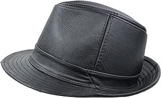 Men & Women's Cowhide Jazz Hat Short Brim Suede Leather Fedora Hat
