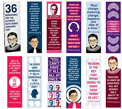 "36-Pack of Ruth Bader Ginsburg Paper Bookmarks. Perfect for Women, Girls and Lawyers. These Cool, Cute, Fun Book Marks Have Inspirational, Motivational Quotes by Feminist Judge""Notorious RBG""."