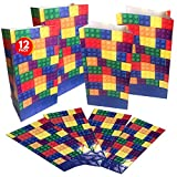 ArtCreativity Building Block Paper Party Favor Bags, Pack of 12, Fun Themed Goodie Gift Bags, Durable Treat Bags, Construction Party Supplies and Favors for Birthday, Baby Shower, Holiday Goodies