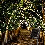 Solar Lichterkette Außen 14M 120 LEDs Lichterketten Aussen Wetterfest, Wasserdicht mit 8 Leuchtmodis Lichterkette für Balkon, Gartendeko, Bäume, Terrasse, Hochzeiten, Weihnachtsbeleuchtung (Warmweiß)