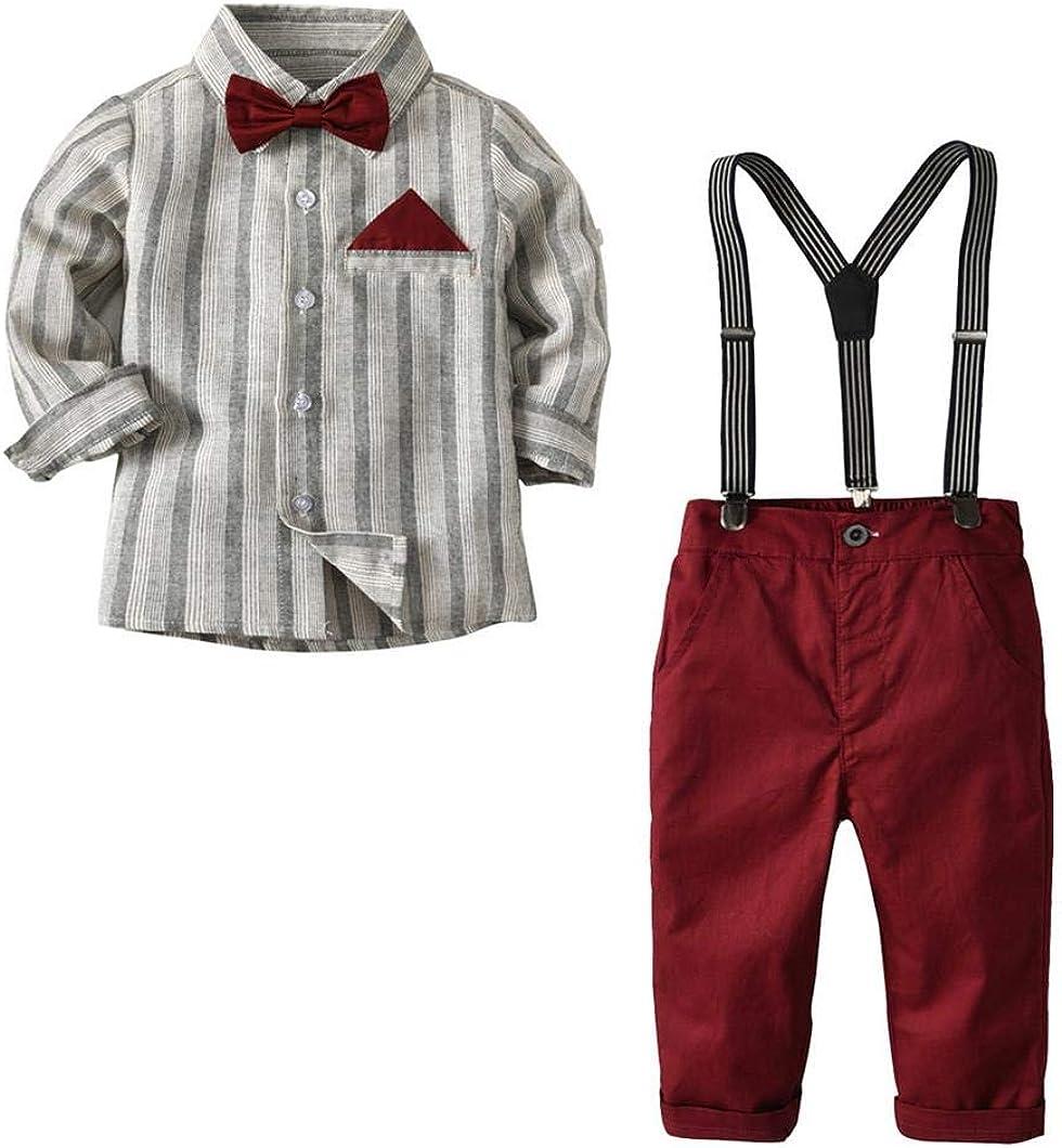 Newborn Baby Clothes Set Shirt Bowtie Suspender Pant 4pcs Baby Boy Gentleman Outfits Set Toddler Suit