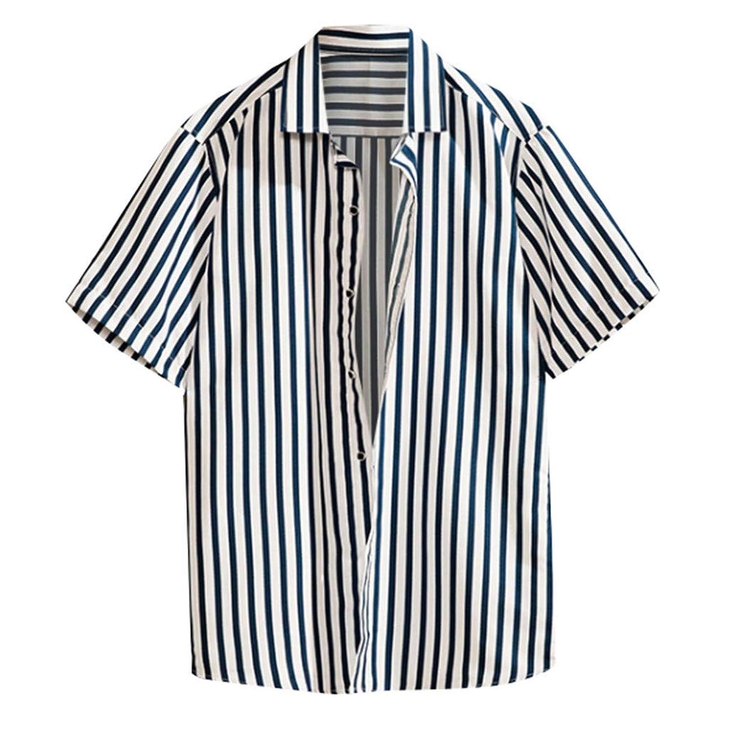 JJLIKER Men's Fashion Short Sleeve Button Down Shirt Casual Vertical Striped Dress Shirt Regular Fit Tees Tops M-4XL