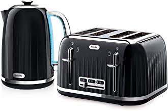 Red or Silver Black Matching Kitchen Set of Two Items Kettle and Toaster in Black