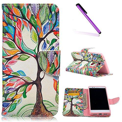 EMAXELERS Huawei Honor 5X Hülle,Niedlich Schmetterling Muster Schutzhülle Ledertasche Lederhülle Handyhülle Wallet Case Tasche Handytasche Standfunktion Karteneinschub,Painting Tree