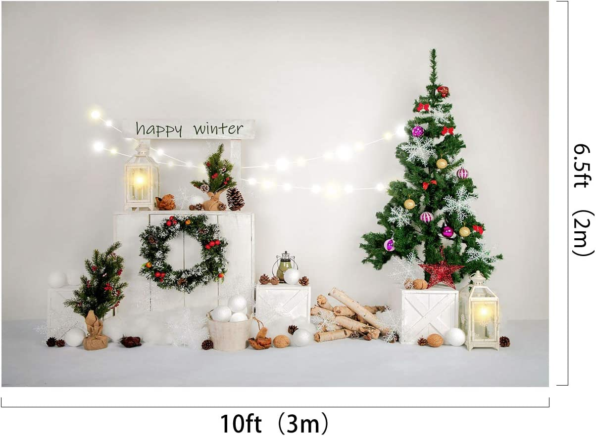 Kate 8x8ft//2.5x2.5m Xmas Tree Backdrops Happy Winter Snow Christmas Wreath Gifts Photography Shoot Studio Backgrounds Props