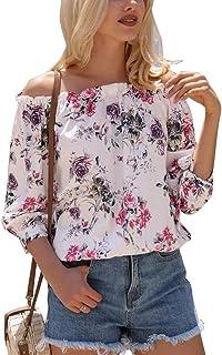 Camiseta Mujer Hombros Descubiertos Cuello Elástico Camiseta Mujer Estampado Floral Manga Larga con Lazos Primavera