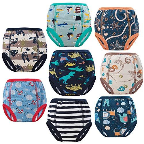 FLYISH DIRECT Mutandine Apprendimento per Bambino per Ragazzi Cotone Assorbente Forte Allenamento Pantaloni per Bambino vasino Allenamento Confezione da 8 3 Anni