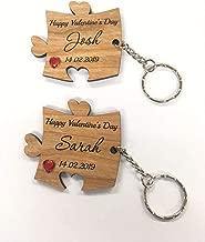 FSSS Ltd - Juego de llaveros de Madera de Cerezo Personalizables para el día de San Valentín o para su Marido, Esposa, Novio, Novia, Pareja