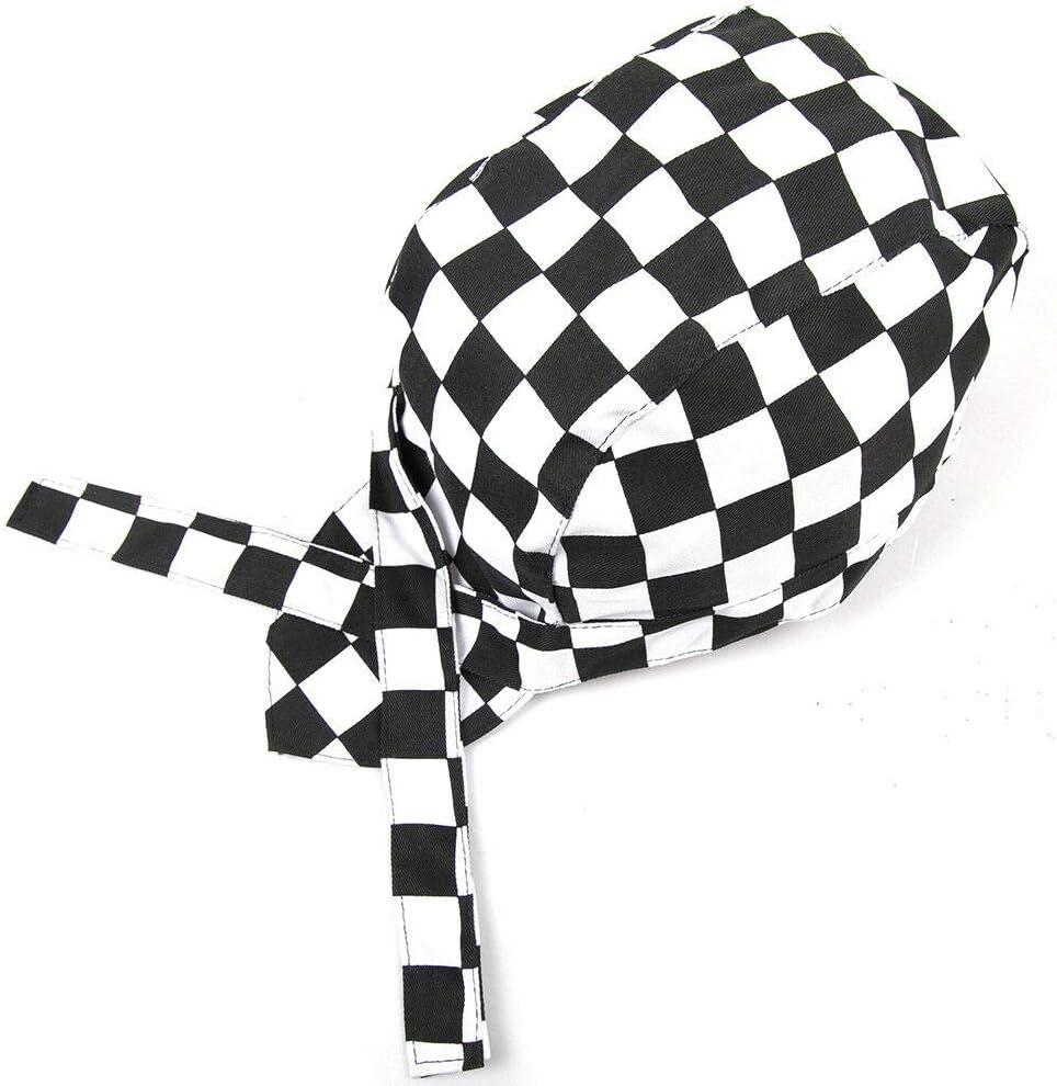 cappellino da lavoro in tela elastica SuperTOOL cappello da chef a bandana con nastro cameriere hotel cappello da pirata per catering professionale chef cappelli da cucina cappello da cuoco alla moda da cucina griglia bianca e nera